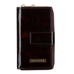 Large tortoise shell patent leather wallet, brown, 26-1-419-2, Photo 1