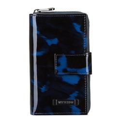 Damski portfel skórzany szylkretowy duży, czarno - niebieski, 26-1-419-7, Zdjęcie 1
