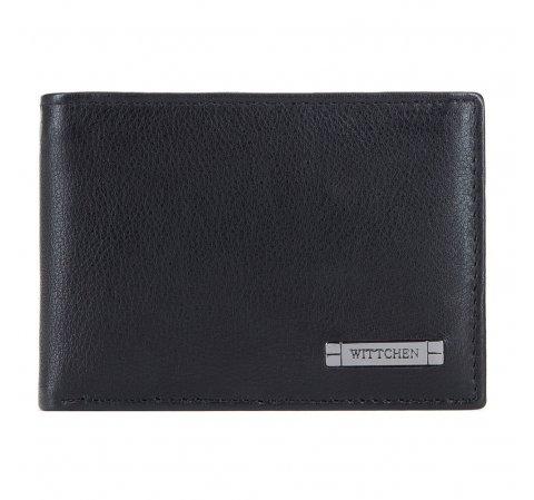 Męski portfel ze skóry bez zapięcia poziomy, czarno - szary, 26-1-425-18, Zdjęcie 1