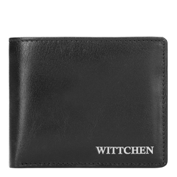 Women's leather small wallet with a metal logo, black, 26-1-436-1, Photo 1