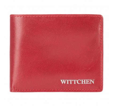 Women's leather small wallet with a metal logo, red, 26-1-436-3, Photo 1