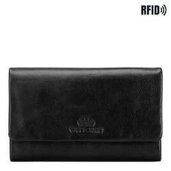 Damski portfel ze skóry prosty, czarny, 26-1-442-1, Zdjęcie 1