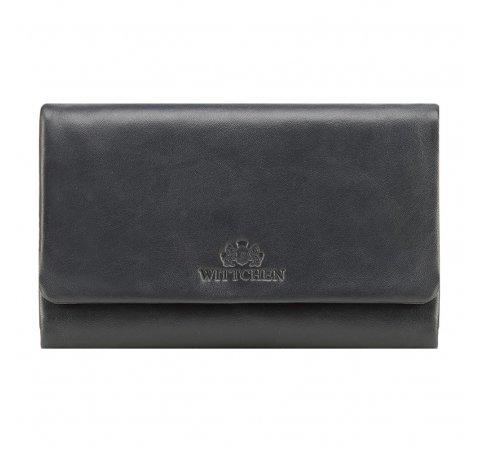 Damski portfel ze skóry prosty, ciemny granat, 26-1-442-N, Zdjęcie 1