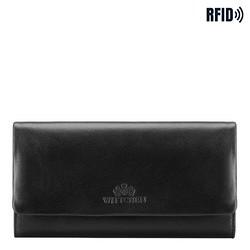 Damski portfel ze skóry podłużny z tłoczonym logo, czarny, 26-1-443-1, Zdjęcie 1