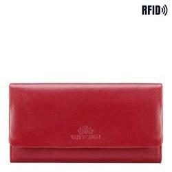 Damski portfel ze skóry podłużny z tłoczonym logo, czerwony, 26-1-443-3, Zdjęcie 1
