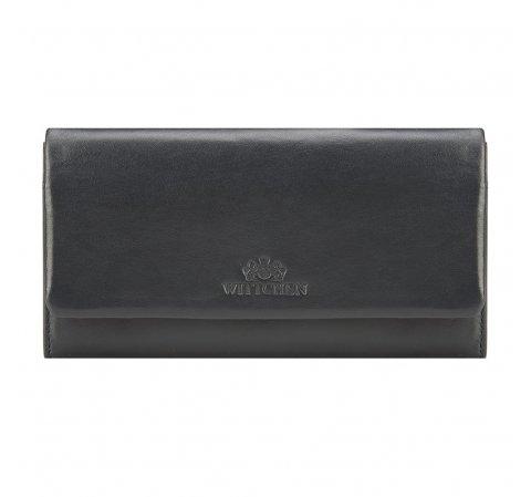 Damski portfel ze skóry podłużny z tłoczonym logo, ciemny granat, 26-1-443-3, Zdjęcie 1