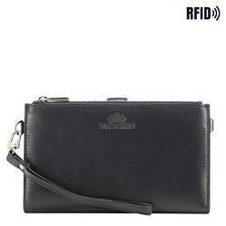 Damski portfel ze skóry z funkcją kopertówki, ciemny granat, 26-1-444-N, Zdjęcie 1