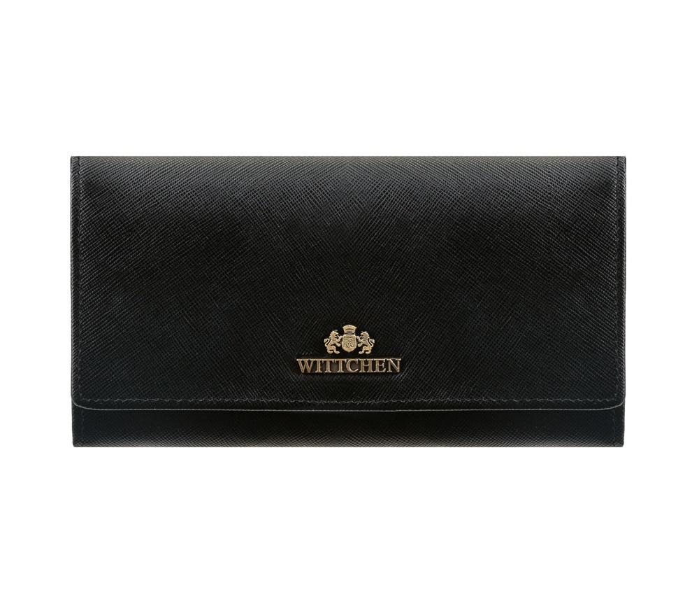 Кожаный кошелек Wittchen 13-1-075-1, черныйСреднего размера женский кошелек, сделан из прочной, слегка глянцевой телячьей кожи. Логотип WITTCHEN выполнен методом тиснения на коже. Кошелек упакован в эксклюзивную упаковку - с лого комании WITTCHEN. Кошелек имеет: отделение для монет которое закрывается на металическую защелку; 3 кармана для купюр; 10 слотов для кредитных карт; 5 карманов, один прозрачный и один на молнии.<br><br>секс: женщина<br>Цвет: черный<br>материал:: Натуральная кожа<br>высота (см):: 10<br>ширина (см):: 18,5