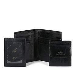Męski portfel skórzany trzyczęściowy, czarny, 21-1-044-1, Zdjęcie 1