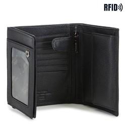 średni męski portfel skórzany, czarny, 02-1-139-1L, Zdjęcie 1