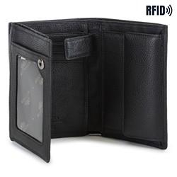 Męski portfel skórzany pionowy, czarny, 02-1-265-1L, Zdjęcie 1