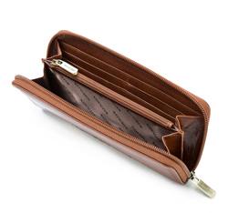Damski portfel skórzany z mandalą duży, jasny brąz, 04-1-393-5, Zdjęcie 1