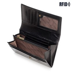 Damski portfel skórzany z kieszonką na zamek, czarny, 10-1-036-L1, Zdjęcie 1