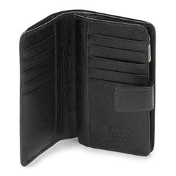 Damski portfel skórzany z zapięciem na napę, czarny, 13-1-047-R1, Zdjęcie 1