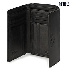 Damski portfel ze skóry poziomy, czarny, 14-1-049-L1, Zdjęcie 1
