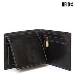Męski portfel skórzany z przeszyciem, czarny, 14-1-119-L1, Zdjęcie 1
