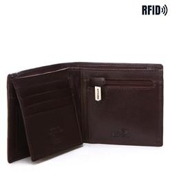 Męski portfel skórzany z przeszyciem, ciemny brąz, 14-1-119-L4, Zdjęcie 1