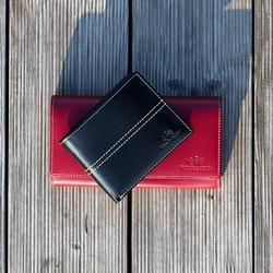 Damski portfel skórzany z ozdobnym przeszyciem, czerwony, 14-1-122-L3, Zdjęcie 1