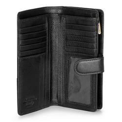 Damski portfel skórzany na napę średni, czarny, 21-1-028-10, Zdjęcie 1