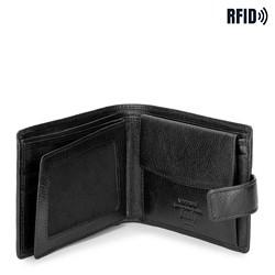 Męski portfel skórzany poziomy, czarny, 21-1-038-10L, Zdjęcie 1