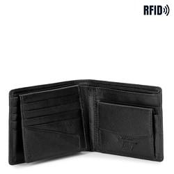 Męski portfel skórzany z wykładanym panelem, czarny, 21-1-039-10L, Zdjęcie 1