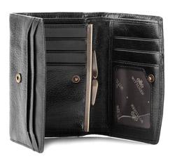 Damski portfel skórzany średni, czarny, 21-1-062-10, Zdjęcie 1