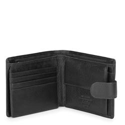 Męski portfel skórzany zapinany na napę, czarny, 21-1-125-10L, Zdjęcie 1