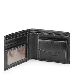 Męski portfel ze skóry stębnowany, czarny, 22-1-173-1, Zdjęcie 1