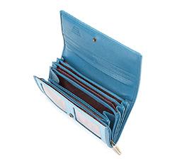 Damski portfel ze skóry lakierowany duży, niebieski, 25-1-052-NB, Zdjęcie 1