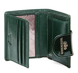 Damski portfel ze skóry lakierowany z ozdobną napą, ciemny zielony, 25-1-362-0, Zdjęcie 1