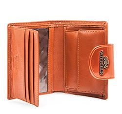 Damski portfel ze skóry lakierowany z ozdobną napą, pomarańczowy, 25-1-362-6, Zdjęcie 1