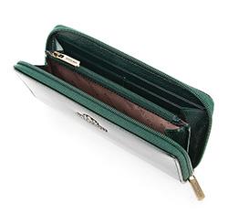 Damski portfel ze skóry lakierowany na suwak, ciemny zielony, 25-1-393-0, Zdjęcie 1