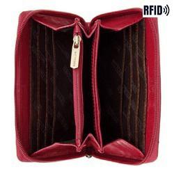 Damski portfel z tłoczonej skóry duży, czerwony, 26-1-003-3, Zdjęcie 1
