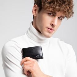 Męski portfel ze skóry minimalistyczny, czarny, 26-1-421-1, Zdjęcie 1