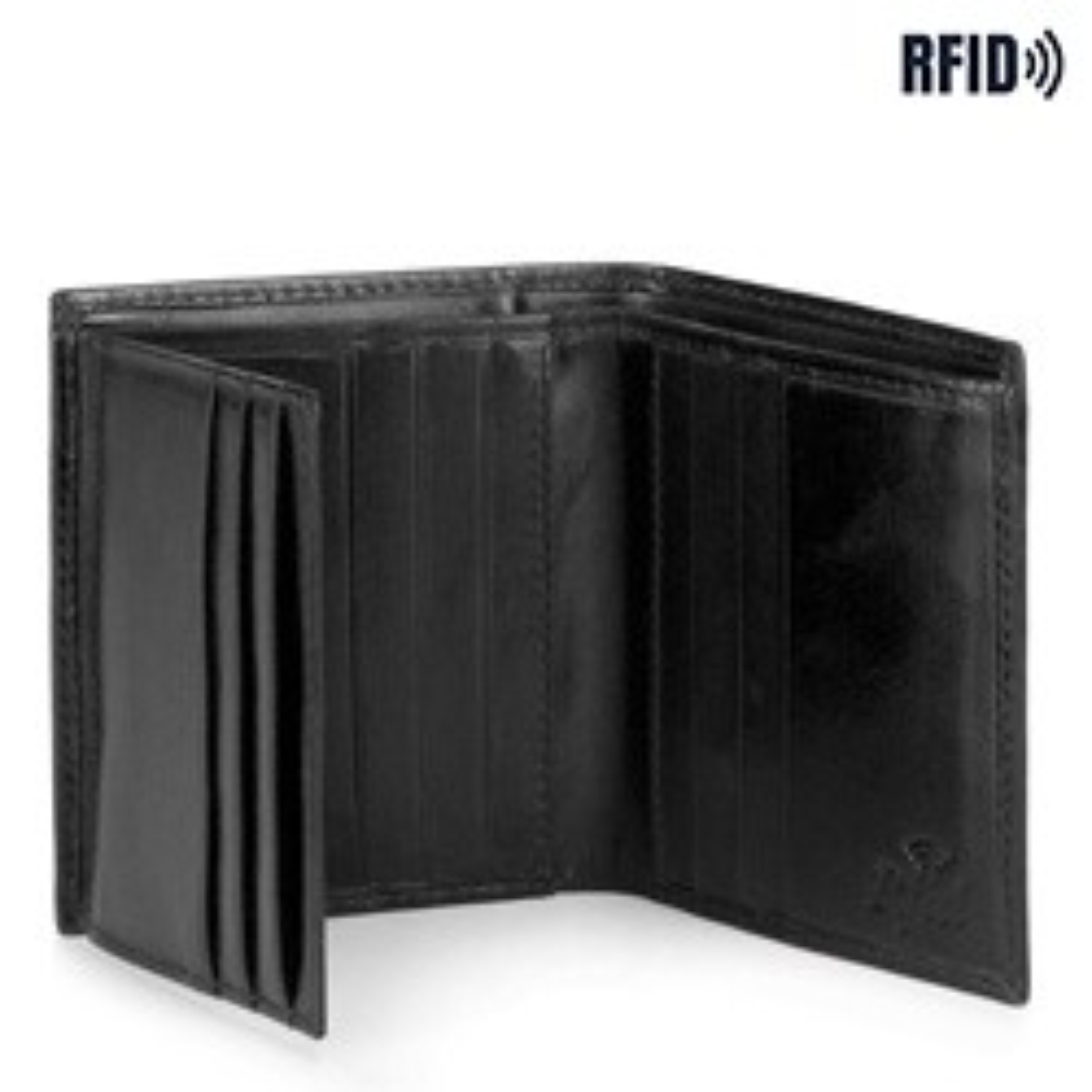Męski portfel ze skóry mały, czarny, 26-1-422-1, Zdjęcie 1