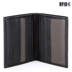 Męski portfel ze skóry bez zapięcia pionowy, czarno - szary, 26-1-423-18, Zdjęcie 1