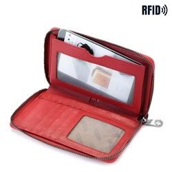 Damski portfel skórzany na pasku, czerwony, 26-1-428-3, Zdjęcie 1