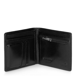 Damski portfel skórzany z metalowym logo mały, czarny, 26-1-436-1, Zdjęcie 1