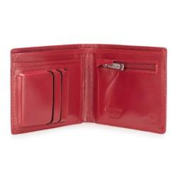 Damski portfel skórzany z metalowym logo mały, czerwony, 26-1-436-3, Zdjęcie 1