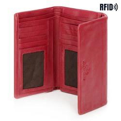 Damski portfel ze skóry prosty, czerwony, 26-1-442-3, Zdjęcie 1