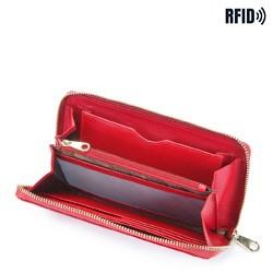 Damski portfel skórzany lakierowany na łańcuszku, czerwony, 26-1L-427-3, Zdjęcie 1