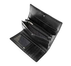 Damski portfel ze skóry lakierowany z monogramem, czarny, 34-1-331-1S, Zdjęcie 1