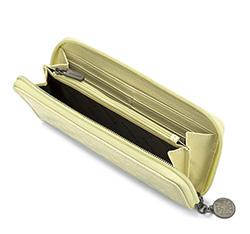 Damski portfel skórzany lakierowany tłoczony, ecru, 34-1-393-K, Zdjęcie 1