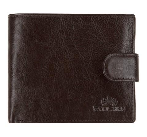 Męski portfel skórzany zapinany na napę, ciemny brąz, 21-1-125-4, Zdjęcie 1