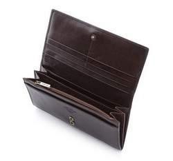 Damski skórzany portfel z herbem poziomy, brązowy, 10-1-333-4, Zdjęcie 1