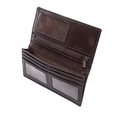 Damski skórzany portfel z herbem pionowy, brązowy, 10-1-335-4, Zdjęcie 1