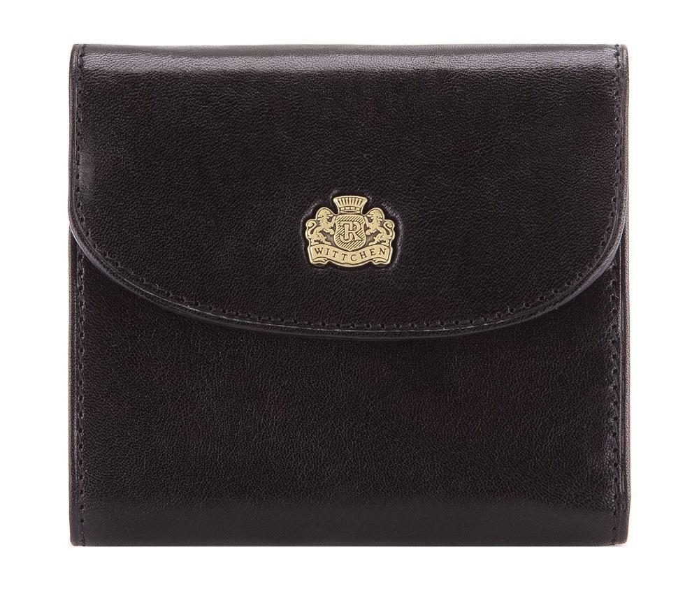 Кошелек женскийЖенский кошелек маленького размера  из коллекции Arizona, изготовлен из итальянской кожи высочайшего качества двойной выделки. Фирменный знак выполнен в виде металлического значка цвета старого золота. Упакован в фирменную коробку с логотипом WITTCHEN.&#13;<br>Особенности модели:&#13;<br>&#13;<br>    отделение для мелочи;&#13;<br>    2 отделения для купюр;&#13;<br>    6 слотов для кредитных карт;&#13;<br>    3 кармана, из которых 1 прозрачный.<br><br>секс: женщина<br>Цвет: черный<br>материал:: натуральная кожа<br>высота (см):: 9.5<br>ширина (см):: 10