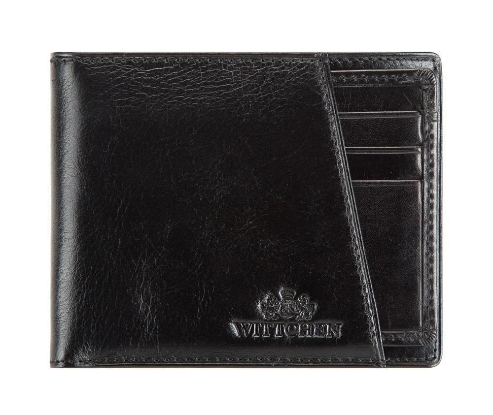 Кожаный кошелек Wittchen 21-1-267-1, черныйКомпактный мужской кошелек из коллекции Italy, ручной работы  из мягкой телячьей кожи. Логотип – герб WITTCHEN тисненый на коже.  Особенности модели:    отделение для мелочи  на молнии;  2 отделения для купюр;  4 слота для кредитных карт;  2 кармана;  съемный вкладыш с 3 слотами для кредитных карт и 1 прозрачным карманом.<br><br>секс: мужчина<br>Цвет: черный<br>материал:: Натуральная кожа<br>высота (см):: 9<br>ширина (см):: 11