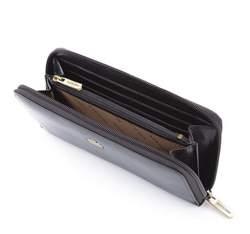Damski portfel ze skóry z herbem na zamek, czarny, 10-1-393-1, Zdjęcie 1