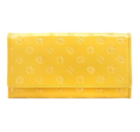 Damski portfel skórzany lakierowany z monogramem, żółty, 34-1-052-1S, Zdjęcie 1